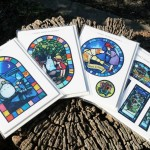 Stained glass-style postcards Large size: ¥756, small size: ¥648